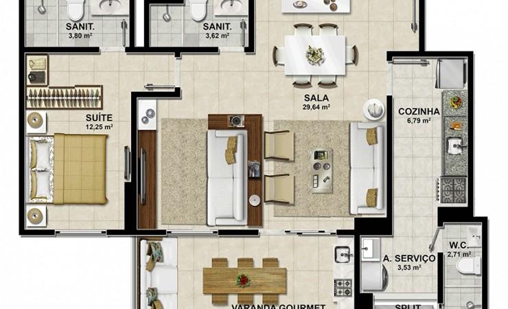 planta quarto e sala